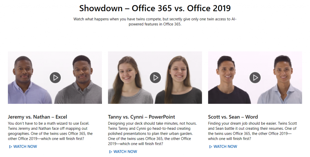 Office 365 vence a Office 2019 : The Twins Challenge